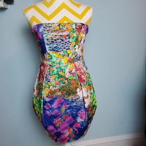 🐠Nwt strapless fish & floral mini dress size 6